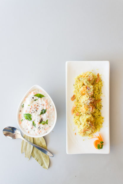 Curd rice and chemmeen thorran